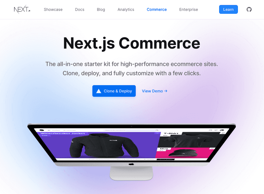 Homepage de Next.js Commerce
